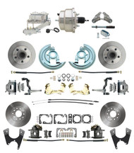 "DBK64721012-GM-330 - 1964-1972 GM A Body Front & Rear Power Disc Brake Conversion Kit Standard Rotors w/ 8"" Dual Chrome Booster Kit"