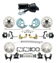 "DBK64721012LXB-GM-411 - 1964-1972 GM A Body Front & Rear Power Disc Brake Conversion Kit Drilled & Slotted & Powder Coated Black Calipers Rotors w/ tandem 8"" Dual Powder Coated Black Booster Kit"