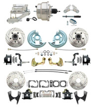 """DBK64721012LXB-GM-328 - 1964-1972 GM A Body Front & Rear Power Disc Brake Conversion Kit Drilled & Slotted & Powder Coated Black Calipers Rotors w/8"""" Dual Chrome Flat Top Booster Kit"""