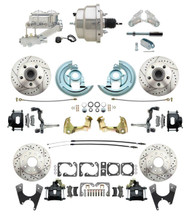 "DBK64721012LXB-GM-330 - 1964-1972 GM A Body Front & Rear Power Disc Brake Conversion Kit Drilled & Slotted & Powder Coated Black Calipers Rotors w/ 8"" Dual Chrome Booster Kit"