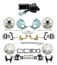 "DBK64721012LX-GM-411 - 1964-1972 GM A Body Front & Rear Power Disc Brake Conversion Kit Drilled & Slotted Rotors w/ 8""Dual Zinc Booster Kit w/ tandem 8"" Dual Powder Coated Black Booster Kit"