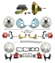"DBK64721012LXR-GM-219 - 1964-1972 GM A Body Front & Rear Power Disc Brake Conversion Kit Drilled & Slotted & Powder Coated Red Calipers Rotors w/ 11"" Delco Stamped Booster Kit"