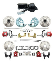 "DBK64721012LXR-GM-411 - 1964-1972 GM A Body Front & Rear Power Disc Brake Conversion Kit Drilled & Slotted & Powder Coated Red Calipers Rotors w/ tandem 8"" Dual Powder Coated Black Booster Kit"