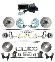 "DBK67691012-GM-415 - 1967-1969 Camaro/ Firebird & 1968-1974 Chevy Nova Front & Rear Power Disc Brake Conversion Kit Standard Rotors w/ tandem 8"" Dual Powder Coated Black Booster Kit"