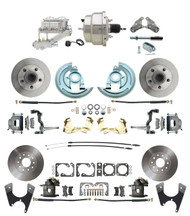 "DBK67691012-GM-330 - 1967-1969 Camaro/ Firebird & 1968-1974 Chevy Nova Front & Rear Power Disc Brake Conversion Kit Standard Rotors w/ 8"" Dual Chrome Booster Kit"