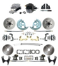 "DBK67691012-GM-735 - 1967-1969 Camaro/ Firebird & 1968-1974 Chevy Nova Front & Rear Power Disc Brake Conversion Kit Standard Rotors w/ 9"" Dual Powder Coated Black Booster Kit"