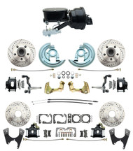 "DBK67691012LXB-GM-415 - 1967-1969 Camaro/ Firebird & 1968-1974 Chevy Nova Front & Rear Power Disc Brake Conversion Kit Drilled & Slotted & Powder Coated Black Calipers Rotors w/ tandem 8"" Dual Powder Coated Black Booster Kit"