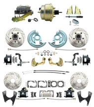 "DBK67691012LXB-GM-215 - 1967-1969 Camaro/ Firebird & 1968-1974 Chevy Nova Front & Rear Power Disc Brake Conversion Kit Drilled & Slotted & Powder Coated Black Calipers Rotors w/ 8""Dual Zinc Booster Kit"