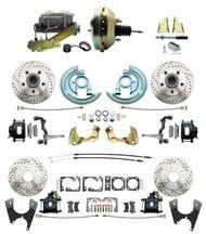 "DBK67691012LXB-GM-217 - 1967-1969 Camaro/ Firebird & 1968-1974 Chevy Nova Front & Rear Power Disc Brake Conversion Kit Drilled & Slotted & Powder Coated Black Calipers Rotors w/9"" Dual Zinc Booster Kit"