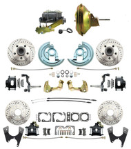 "DBK67691012LXB-GM-219 - 1967-1969 Camaro/ Firebird & 1968-1974 Chevy Nova Front & Rear Power Disc Brake Conversion Kit Drilled & Slotted & Powder Coated Black Calipers Rotors w/ 11""Delco Stamped Booster Kit"