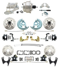 "DBK67691012LXB-GM-328 - 1967-1969 Camaro/ Firebird & 1968-1974 Chevy Nova Front & Rear Power Disc Brake Conversion Kit Drilled & Slotted & Powder Coated Black Calipers Rotors w/8"" Dual Chrome Flat Top Booster Kit"