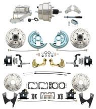 "DBK67691012LXB-GM-330 - 1967-1969 Camaro/ Firebird & 1968-1974 Chevy Nova Front & Rear Power Disc Brake Conversion Kit Drilled & Slotted & Powder Coated Black Calipers Rotors w/ 8"" Dual Chrome Booster Kit"