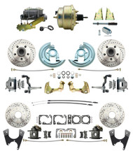 "DBK67691012LX-GM-215 - 1967-1969 Camaro/ Firebird & 1968-1974 Chevy Nova Front & Rear Power Disc Brake Conversion Kit Drilled & Slotted Rotors w/ 8""Dual Zinc Booster Kit"