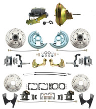"DBK67691012LX-GM-219 - 1967-1969 Camaro/ Firebird & 1968-1974 Chevy Nova Front & Rear Power Disc Brake Conversion Kit Drilled & Slotted Rotors w/ 11"" Delco Stamped Booster Kit"