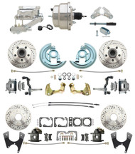 "DBK67691012LX-GM-328 - 1967-1969 Camaro/ Firebird & 1968-1974 Chevy Nova Front & Rear Power Disc Brake Conversion Kit Drilled & Slotted Rotors w/8"" Dual Chrome Flat Top Booster Kit"