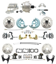 "DBK67691012LX-GM-330 - 1967-1969 Camaro/ Firebird & 1968-1974 Chevy Nova Front & Rear Power Disc Brake Conversion Kit Drilled & Slotted Rotors w/ 8"" Dual Chrome Booster Kit"