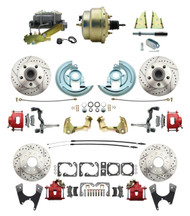 "DBK67691012LXR-GM-215 - 1967-1969 Camaro/ Firebird & 1968-1974 Chevy Nova Front & Rear Power Disc Brake Conversion Kit Drilled & Slotted & Powder Coated Red Calipers Rotors w/ 8""Dual Zinc Booster Kit"