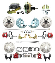 """DBK67691012LXR-GM-217 - 1967-1969 Camaro/ Firebird & 1968-1974 Chevy Nova Front & Rear Power Disc Brake Conversion Kit Drilled & Slotted & Powder Coated Red Calipers Rotors w/9"""" Dual Zinc Booster Kit"""