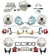 "DBK67691012LXR-GM-328 - 1967-1969 Camaro/ Firebird & 1968-1974 Chevy Nova Front & Rear Power Disc Brake Conversion Kit Drilled & Slotted & Powder Coated Red Calipers Rotors w/8"" Dual Chrome Flat Top Booster Kit"
