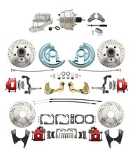 "DBK67691012LXR-GM-330 - 1967-1969 Camaro/ Firebird & 1968-1974 Chevy Nova Front & Rear Power Disc Brake Conversion Kit Drilled & Slotted & Powder Coated Red Calipers Rotors w/ 8"" Dual Chrome Booster Kit"