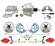 1964-1972 GM A, F, X Body Disc Brake Conversion Chrome  Kit w/ Wilwood Red Calipers