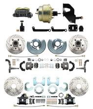 "DBK6272834LX-MP-208 1962-2 Mopar B & E Body Front & Rear Disc Brake Conversion Kit w/ Drilled & Slotted Rotors ( Charger, Challenger, Coronet) w/ 8"" Dual Zinc Booster Conversion Kit w/ Adjustable Valve"