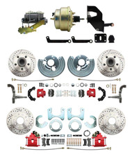 "DBK6272834LXR-MP-207 1962-72 Mopar B & E Body Front & Rear Disc Brake Conversion Kit w/ Drilled & Slotted Rotors & Powder Coated Red Calipers ( Charger, Challenger, Coronet) w/ 8"" Dual Zinc Booster Conversion Kit w/ Left Mount valve Kit"