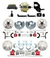 """DBK6272834LXR-MP-208 1962-72 Mopar B&E Body  Front & Rear Disc Brake Conversion Kit w/ Drilled & Slotted Rotors & Powder Coated Red Calipers ( Charger, Challenger, Coronet) w/ 8"""" Dual Zinc Booster Conversion Kit w/ Adjustable Valve"""