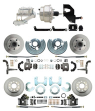 "DBK6272834-MP-331 1962-72 Mopar B&E Body Front & Rear Disc Brake Conversion Kit w/ Standard Rotors ( Charger, Challenger, Coronet) w/ 8"" Dual Chrome Booster Conversion Kit w/ Flat Top Chrome Master Cylinder & Left Mount Valve Kit"