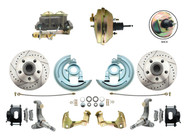 "DBK6267LXB-GM-233  - 1962-1967 Nova Power Disc Brake Conversion Kit Drilled & Slotted Rotors Powder Coated Black Calipers w/ 9"" 3 Stud Booster"