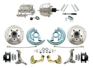 "DBK6267LXB-GM-337  - 1962-1967 Nova Power Disc Brake Conversion Kit Drilled & Slotted Rotors Powder Coated Black Calipers w/ 7"" Dual Chrome Booster Kit"