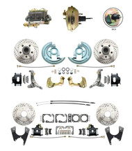 "DBK62671012LXB-GM-234  - 1962-1967 Nova Power Front & Rear Disc Brake Conversion Kit  Drilled Slotted Rotors Black Calipers w/ 9"" 3 Stud Booster"