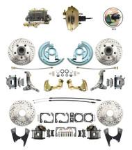 "DBK62671012LX-GM-234  - 1962-1967 Nova Power Front & Rear Disc Brake Conversion Drilled Slotted Rotors Kit w/ 9"" 3 Stud Booster"