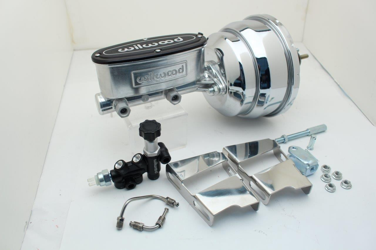 1958-74 GM Fullsize Chevy Cars Chrome Power Brake Booster & Wilwood Master  Cylinder Assembly