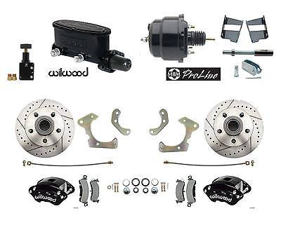 1965-68 Chevy Impala Power Disc Brake Kit Black Wilwood Calipers & Master