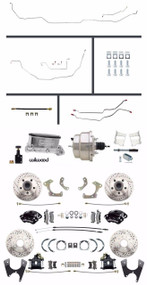 Chevy BelAir 55-58 Front & Rear Wilwood Disc Brake Chrome Booster & SS Line Kit