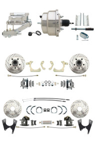 1955-1958 Bel Air Impala Front & Rear Disc Brake Kit Drilled/ Slotted Rotors Chrome Power Conversion Kit
