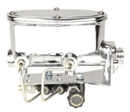 "1.125"" Bore Chrome Oval Master Cylinder Kit w/ Bottom Mount Adjustable Valve"