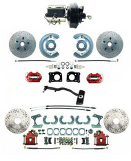 1967-69 Mustang Front & Rear Disc Conversion D/S Rotors & RED PC Calipers