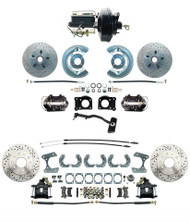1967-69 Mustang Front & Rear Disc Conversion D/S Rotors & BLACK PC Calipers