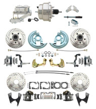 "1964-1972 GM A Body Front & Rear Power Disc Brake Conversion Kit Drilled 2"" Drop & Slotted Rotors w/ 8"" Dual Chrome Booster Kit"