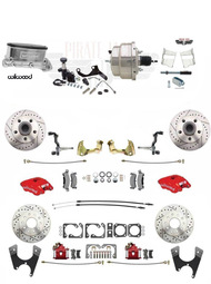 1968-69 Camaro/ Firebird RED Wilwood Front Rear Disc Brake Kit w/ Chrome Booster Kit