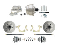 "1955-1958 Chevy Impala, Bel-Air Biscayne  8"" Dual Chrome Power Disc Brake Conversion Kit Plain Rotors"