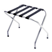 Flat Top Metal Luggage Rack, Chrome Plated, Black Straps, Price Per Each, 4 Per Case