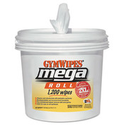 GymWipes Mega Roll Wipes Bucket, 1200 Wipes, Case of 2