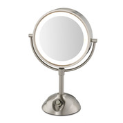 "Conair BE103WH 8.5"" Lighted Vanity Mirror 1X-5X Magnification Satin Nickel"