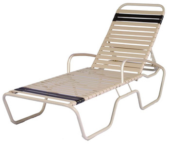 Sanibel Strap Chaise Lounge Chair With Armrests