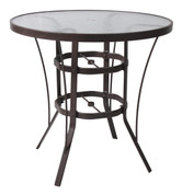 Round Bar Height Glass Top Table