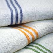 Oxford Ribbed 3-Stripe Pool Towel, 30x60, 100% Cotton, White 9 lb/Dz, 1 Dozen
