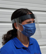 Face Shield with Protective Clear Film, Adjustable Head Band and Comfort Foam, Eye Protection, 4 Pack